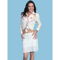 Pleated Front Tiered Short Skirt in Ivory