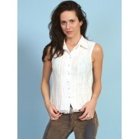 Pleated Front Sleeveless Lace Blouse in Ivory