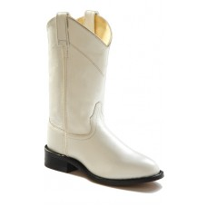 White Leather Roper Style Cowboy Boots