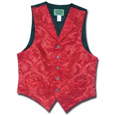 Floral Jacquard Men's Vest in Red