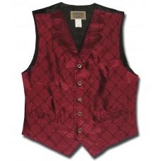 Floral Jacquard Men's Vest in Burgundy