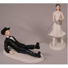 Bride Roping Groom Cake Top